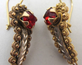 Vintage Mexican Gold Gusano Earrings