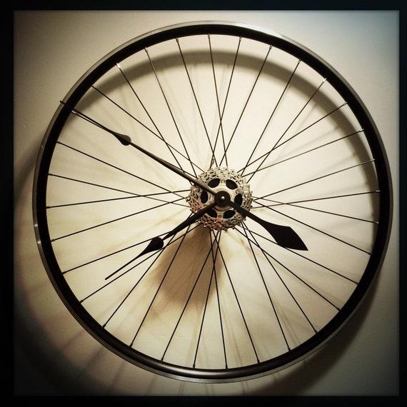 Items similar to bike wheel clock gift for cyclist for Bicycle wheel wall art