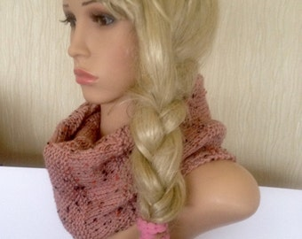 Unique hand knitted/crochet infinity scarf, pink tweed effect irish aran handmade soft scarf,cowl designer teen gift hippie boho