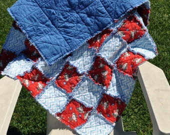 Blue and red monkey and chevron Rag Quilt 39 in by 39 in
