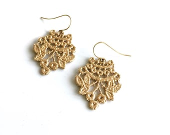 Lace Earrings - 14k Yellow Gold - Chantilly - Cast From Real Lace