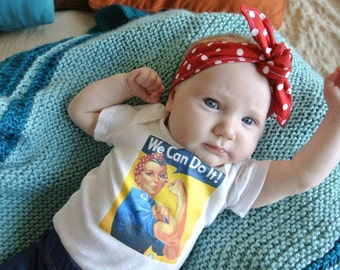 "BABY ONESiE *Rosie the Riveter* w/ Matching Polka Dot Headband! Featured on The ELLEN DEGENERES Show!!!. Check Shop Section ""Baby Clothes"""