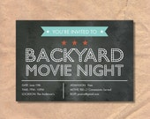 Printable Movie Night Invitation: Marquee Chalkboard