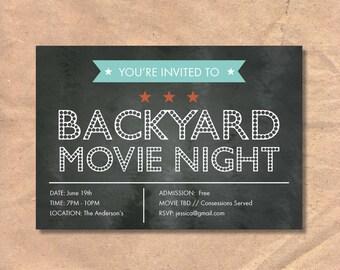 Printable Movie Night Invitation: Marquee Chalkboard
