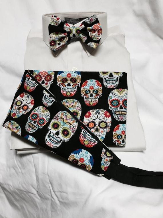 Sugar skull calavera day of the dead cummerbund for a wedding for Sugar skull wedding dress