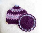 Purple Granny Square Crochet Teapot Cozy and Hotpad Set