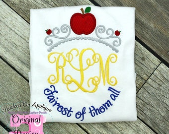 Snow White Princess Inspired Monogram Tiara with Phrase - Princess Movie - Custom Tee 2026