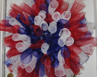 Fourth of July, Labor Day, Memorial Day Patriotic Spiral Deco Mesh Wreath Red White and Blue America