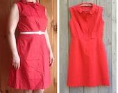 Vintage dress | 1960s Red sleeveless round collar A line dress