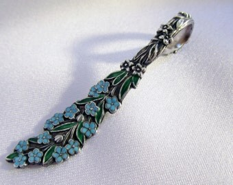 Victorian Blue Enamel Sterling Floral Spoon Pendant Forget Me Not Flower Spoon Pendant