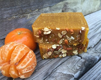 Eczema Relief Honey Milk & Oatmeal Soap, Tangerine Exfoliating Soap, Natural Honey Oatmeal Soap with Goat Milk