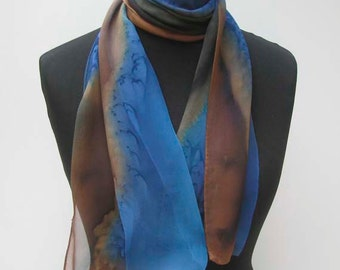 Blue SILK SCARF, Hand Painted