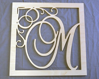 "24"" Large Monogram Wooden Letters with square border- Wall Hanging Letters- Nursery Decor- Nursery Monogram- Wood Monogram- Wall Decor"