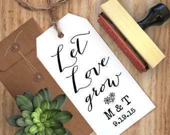 Let Love Grow Stamp, Wedding Favor Stamp, Let Love Grow, Wedding Favor Stamp, Seed Bags Stamp, DIY wedding, Boho Wedding, Rustic Wedding