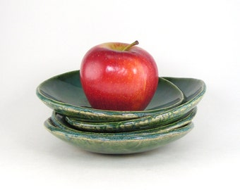 Green Dessert Plates, Snack Dishes, Set of 4 Shallow Stoneware Bowls, Tapas Plates, Rounded Side Dishes 11-13-33,34,35,36