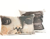 Decorative pillow set, doll face scatter cushion cover and black abstract throw pillow
