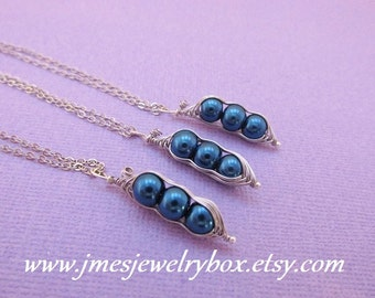 Three peas in a pod best friend necklace set - Royal blue