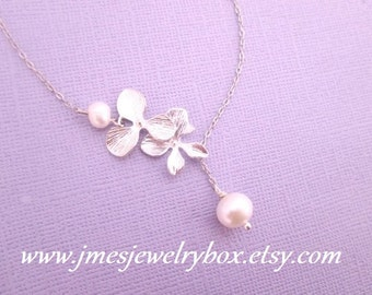 Silver orchid and freshwater pearl lariat necklace