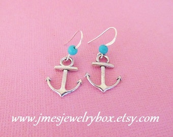 Silver anchor earrings with turquoise