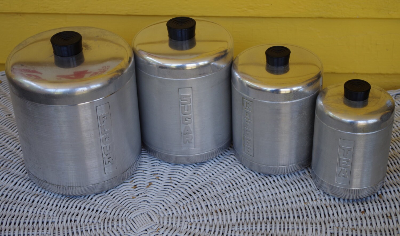 Vintage 1950s Brushed Aluminum 4 Piece Canister Set Flour