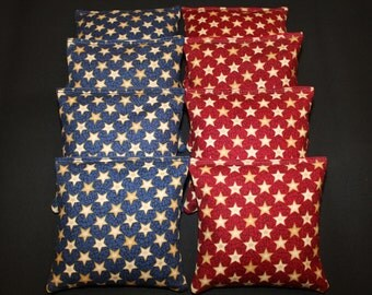 Blue & Red STARS Patriotic Cornhole Bean Bags 8 Aca Regulation Corn Hole Bags