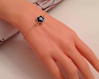 Daisy Evil Eye Bracelet , Daisy Anklet, Gold Plated Evil Eye Bracelet, Nazar Jewelry, Cute Bracelet, Gift for Girlfriend, Gift for Her Kids