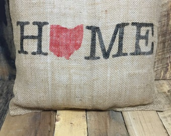 Home Burlap Pillow
