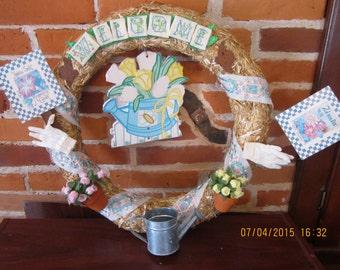 WELCOME Spring Garden Wreath