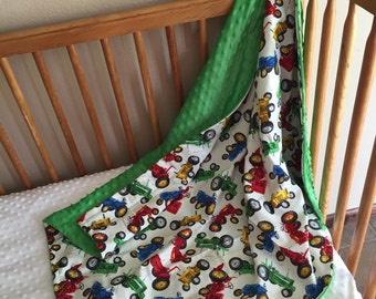 Toddler sized minky tractor blanket