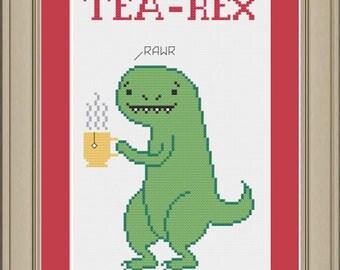 Tea-Rex: funny dinosaur cross-stitch pattern