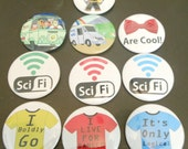 You pick a set of 3 buttons 2.25 inch pin back set of 3 badges badge