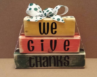 Wooden block set, give thanks, thanksgiving, fall, autumn, harvest