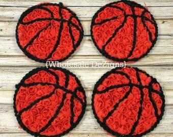 "Basketball Chiffon Rosettes - Orange and Black - Sports Ball Applique - 3"""