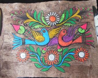 Ethnic Painting on Bark Vivid Folk Art
