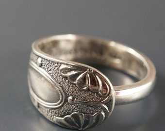 Antique  SPOON Ring - SPOON jewelry band - boho silver ring -unique ring  -sz 7 -10  No.00123