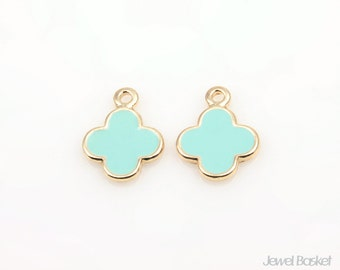 Mint Clover in Gold / 10.0mm x 12.8mm / BMTG182-P (2pcs)
