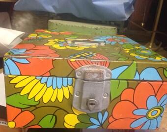 Mid Century Flower Power Storage File Box - check file box - weathered