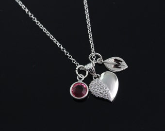 Heart Necklace, Personalized Heart Necklace, 925 Sterling silver heart initial and birthstone, Heart Jewelry, sweetheart necklace 131