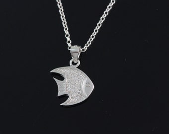 925 Sterling silver fish Necklace, Silver fish necklace, sterling fish pendant necklace, sterling silver fish jewelry CHCZ 7180