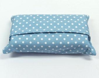 Travel Tissue Holder,  Polka Dot Fabric Tissue Case, Pocket Tissue Holder, Pocket Tissue Pouch