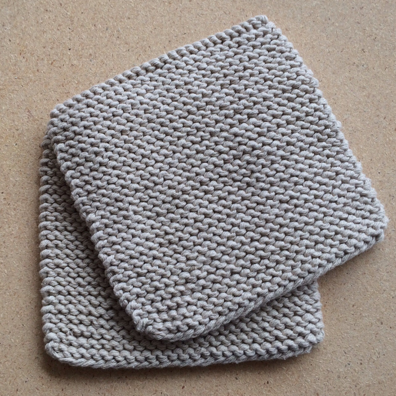 Hand Knit Cotton Pot Holders Set of 2 Gray