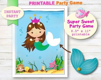 Pin the Tail on the Mermaid - Printable party games. Mermaid party decor. Pool party decor. kids party ideas. Girls mermaid party decoration