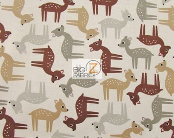 "100% Cotton Fabric By Ann Kelle For Robert Kaufman - Woodland Pals - 45"" Width Sold By The Yard (FH-1591)"