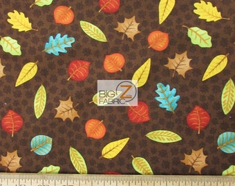 """Fall Fun Leaves Brown By Stella Jean For Wilmington Prints 100% Cotton Fabric 45"""" Wide By The Yard (FH-1721)"""