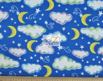 """100% Cotton Fabric - Moon Stars Blue - 45"""" Wide By The Yard (FH-1762)"""