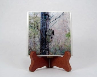 Original Rusty Bird House Handmade Photo Coaster, FI79