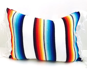 mexican blanket pillow / urban outfitters decor / summer pillow / white pillow / anthropologie