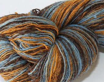 KAUNI Estonian Artistic Wool Yarn Brown Blu 8/1, skein 148 g.