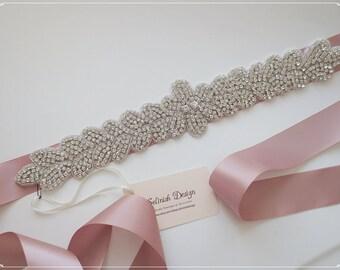 Beaded Sash Belt, Wedding Belt, Bridal Sash, Rhinestone Beaded Sash, Blush Pink Sash, Blush Wedding- code:SB156cu