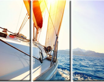 Framed Huge 3 Panel Modern Art Yachting Ocean Sailing Giclee Canvas Print - Ready to Hang
